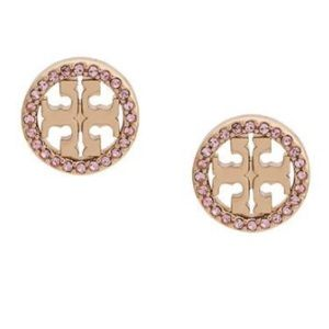 NWOT Tory Burch Crystal Logo Circle Stud Earring
